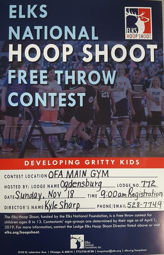 Start your journey on the Elks National Hoop Shoot Free Throw Contest at the OFA Main Gym on November 18. Be there for 9am registration!